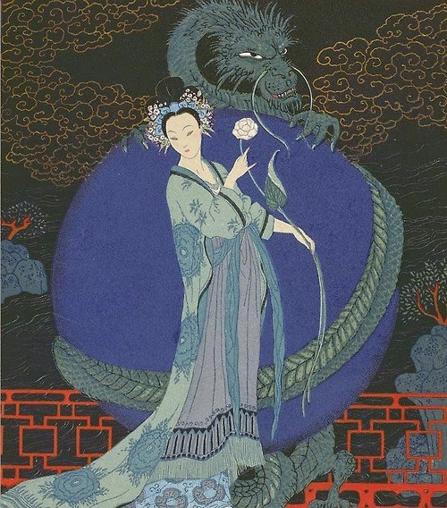 Lady with a Dragon - George Barbier